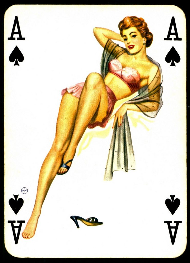 ace clubs pinup card