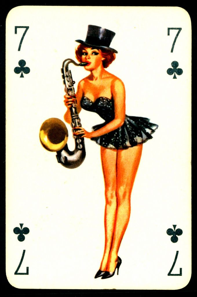 seven of clubs pinup artwork sexy