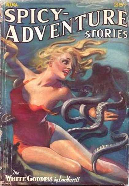 pulp adventure cover art pinup woman
