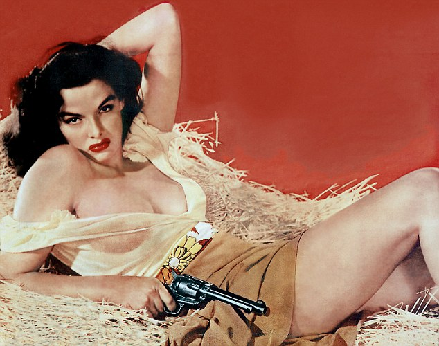 Jane Russell posing for The Outlaw movie classic actress