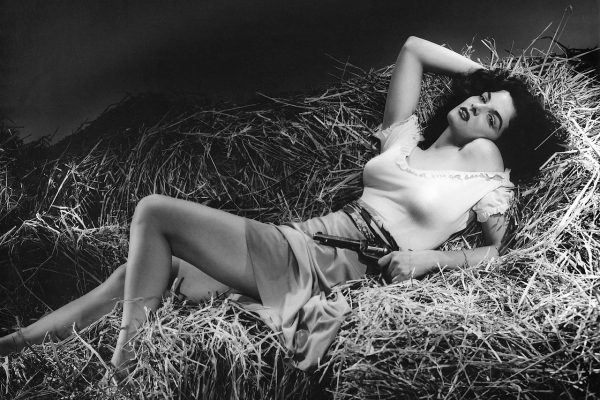 Jane Russell in The Outlaw movie in pinup pose