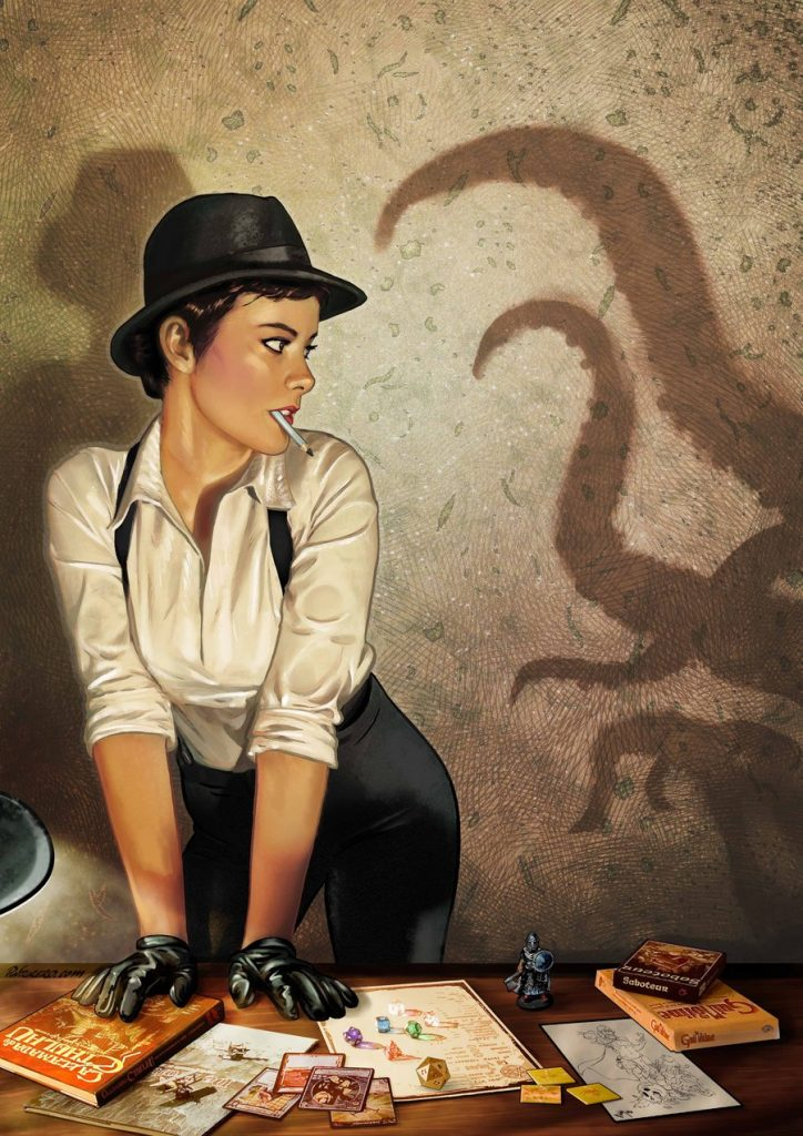 Lovecraft Cthulthu pinup art woman noir
