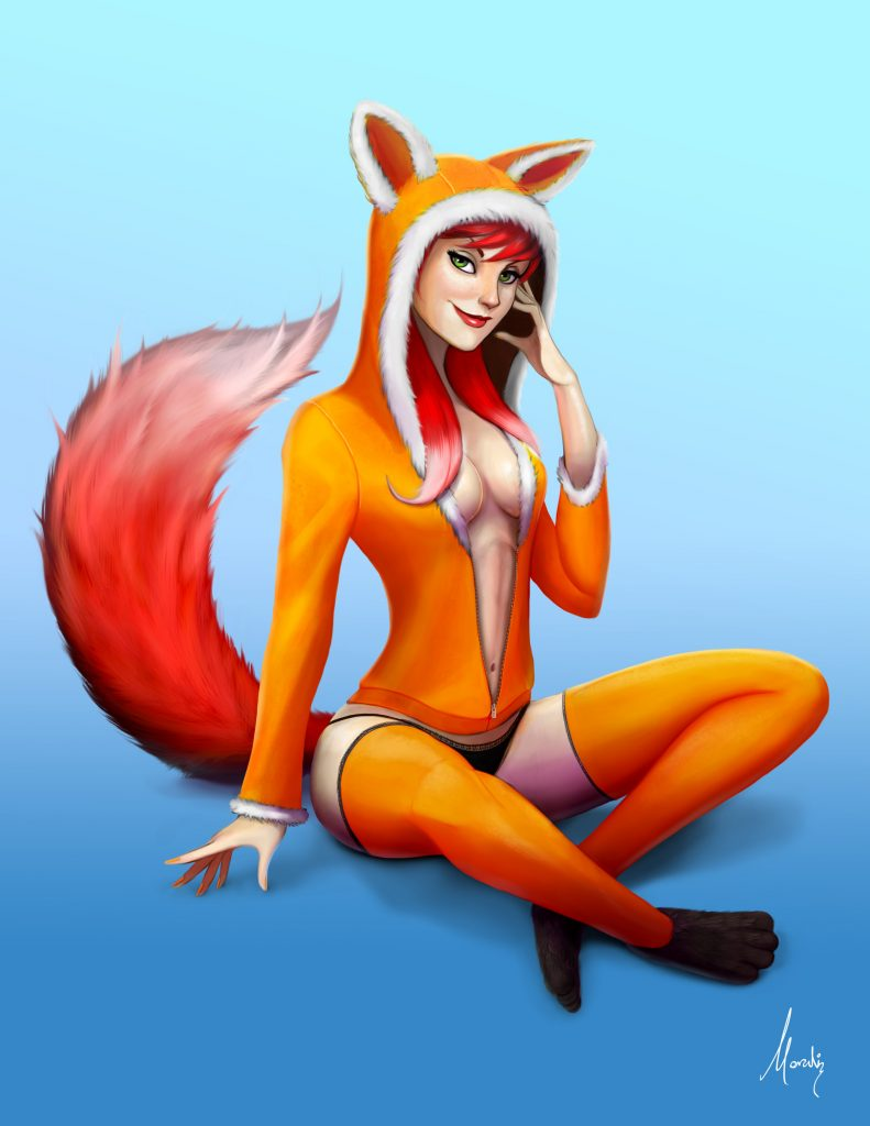 furry fox pinup animal mauricio morali