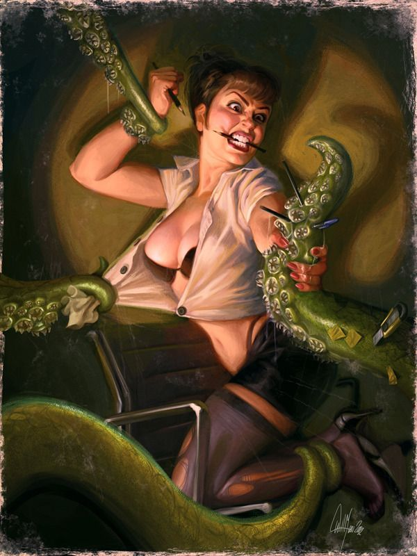Pulp Tentacle art woman fighting creature