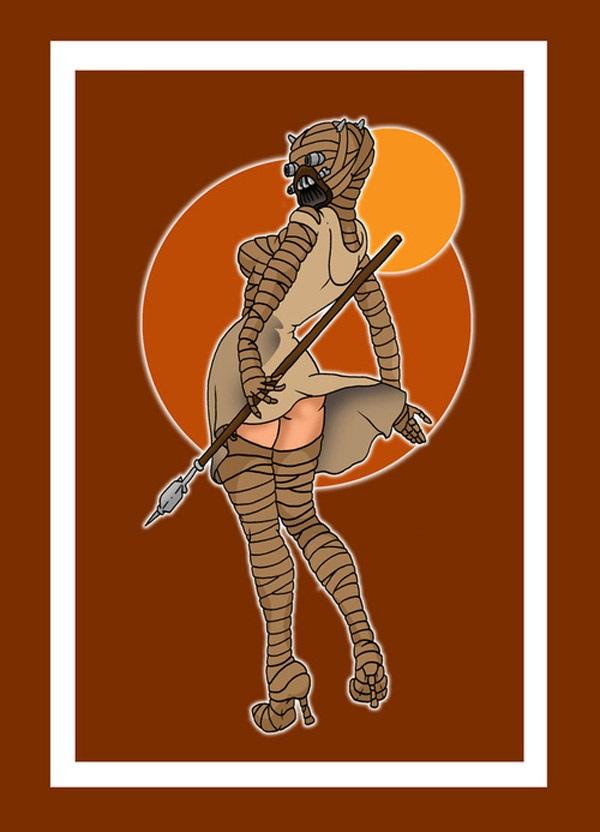 Sandpeople woman pin-up Star Wars