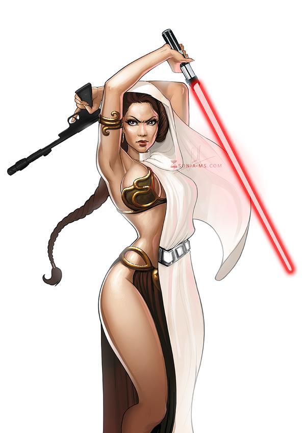 Princess Leia pin-up artwork Star Wars
