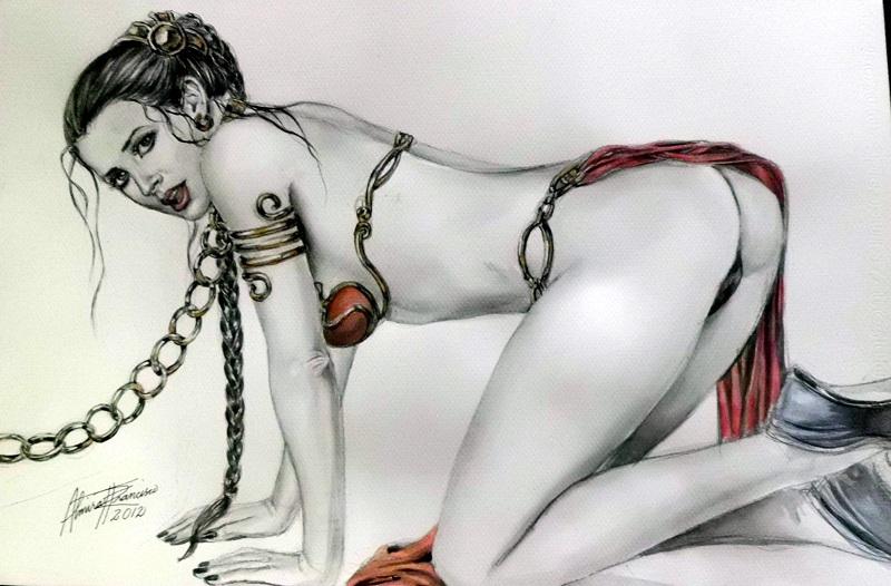 Slave Leia pin-up art Almira Francisco