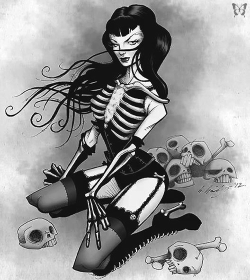 Bettie Page pin-up dark gothic Gris Grimsly