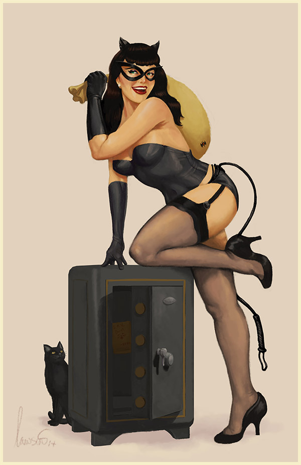 Catwoman pin-up Bettie Page inspired art