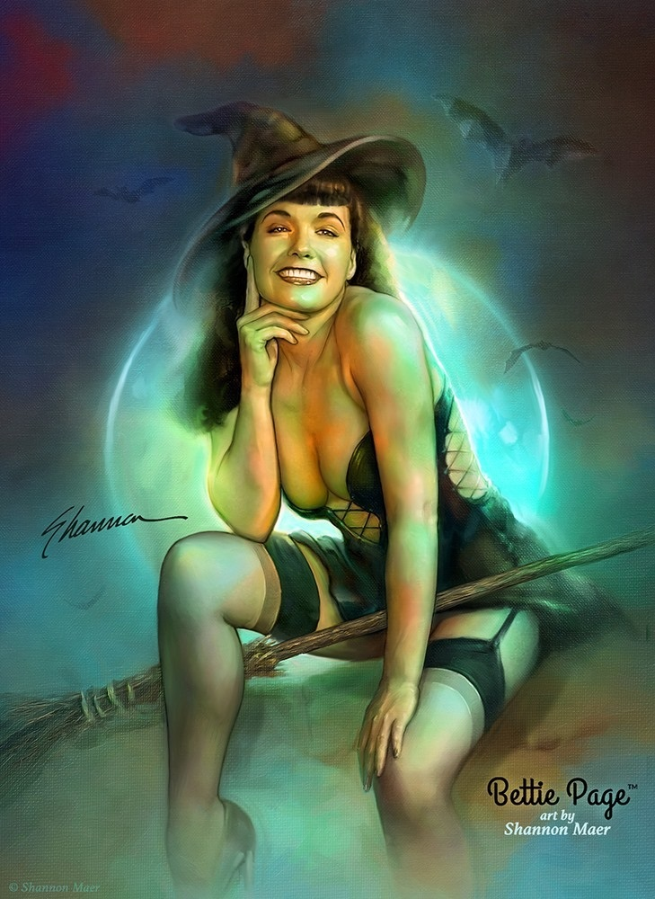 Shannon Maer bettie page halloween pin-up artwork