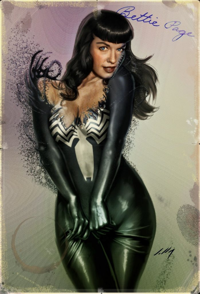 Bettie Page superhero Venom pin-up axlsalles
