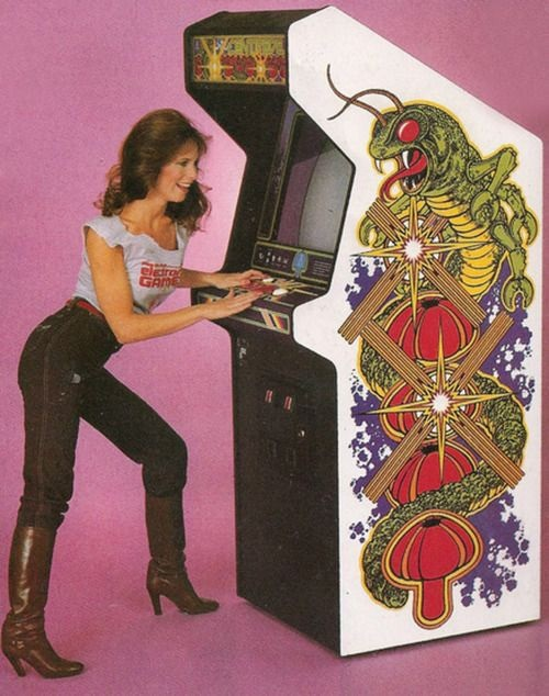 Centipede pin-up model ad 1980s video game arcade