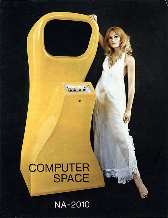 model with Computer Space arcade game 1971