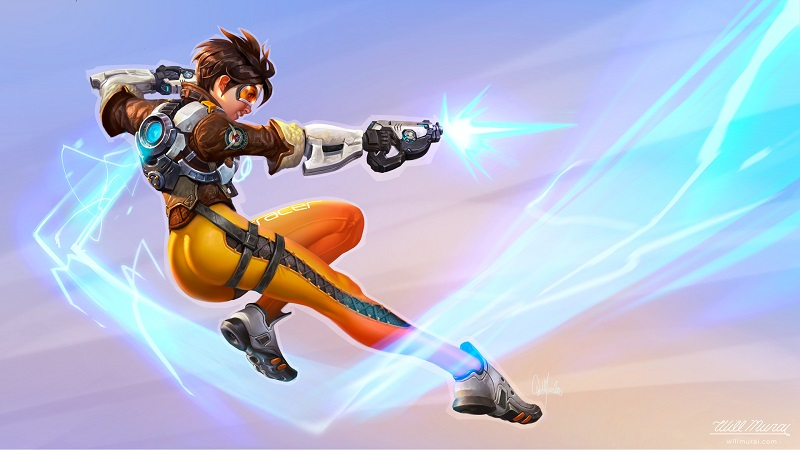 Tracer from Overwatch pin-up artwork