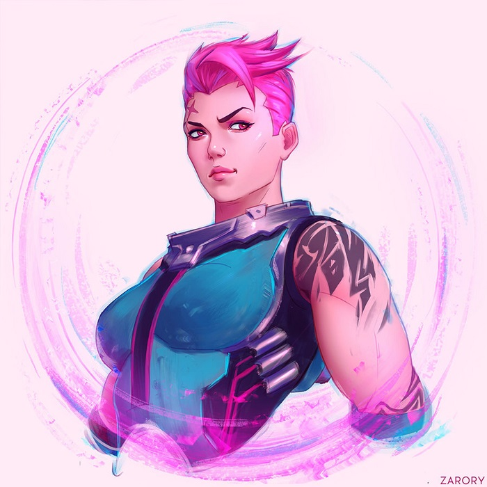 Zarya from Overwatch pin-up art
