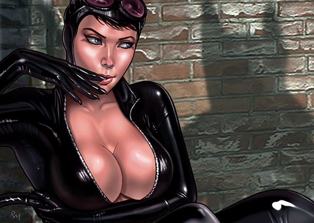 Catwoman pinup cartoon artwork Raffaele Marinetti
