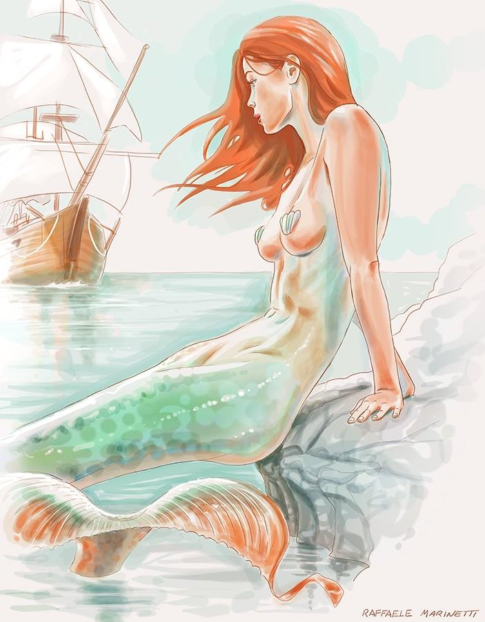 Mermaid pin-up artwork Raffaele Marinetti