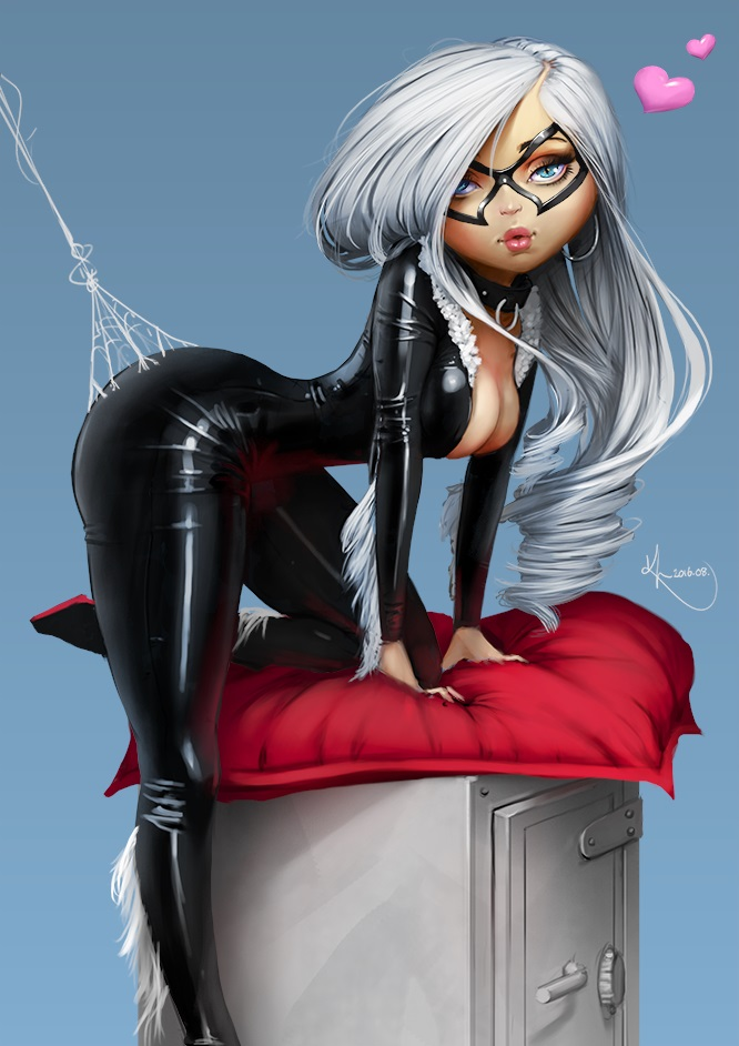Black Cat artwork pin-up Marvel Comics by SourAcid