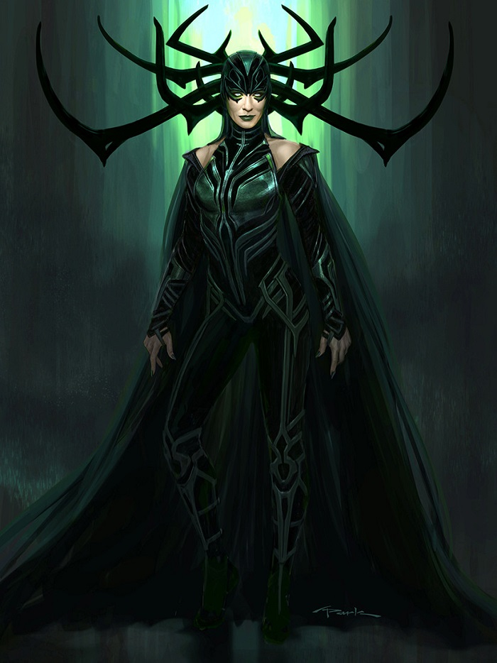 Hela from Thor Ragnarok concept artwork in pin-up style