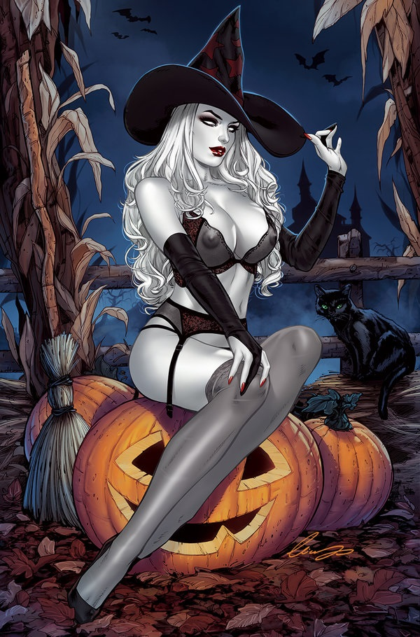 Lady Death halloween pin-up as a witch