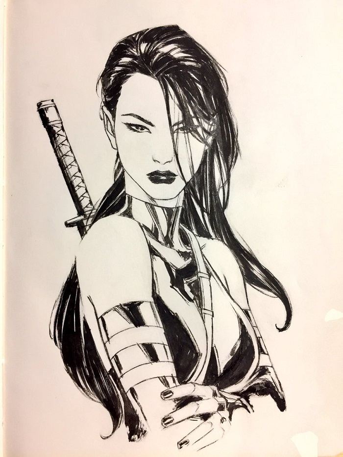 Psylocke drawing x-men