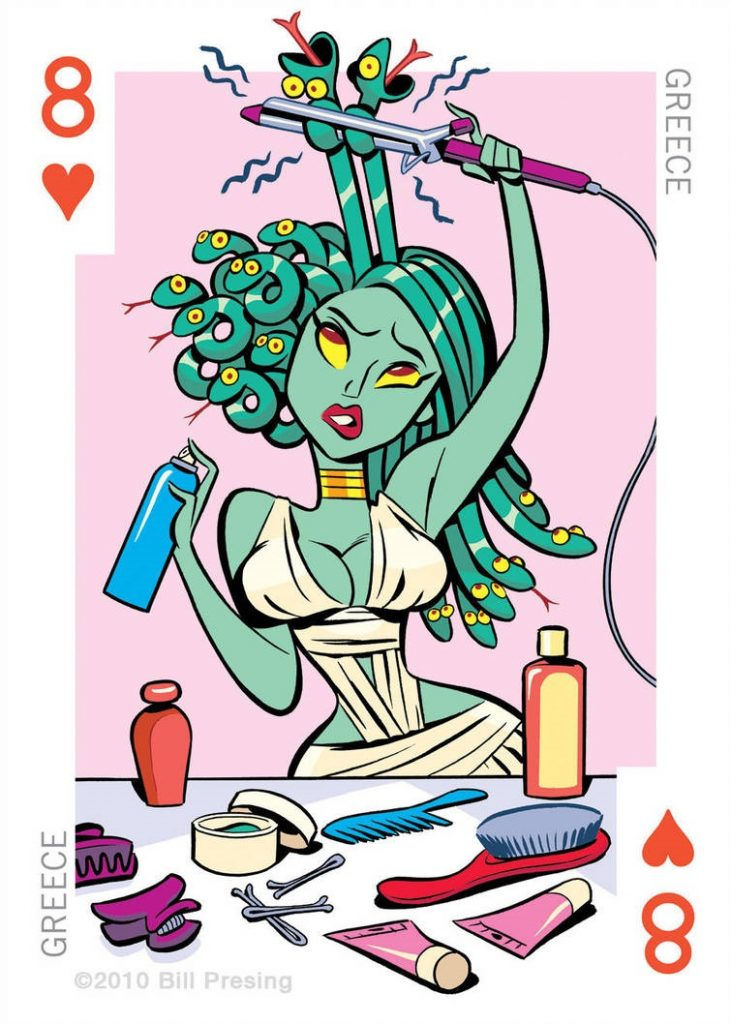 Greece playing card artwork Medusa