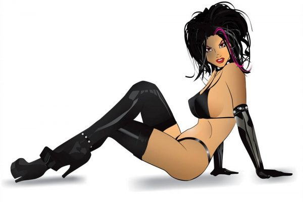 leather vector pinup woman