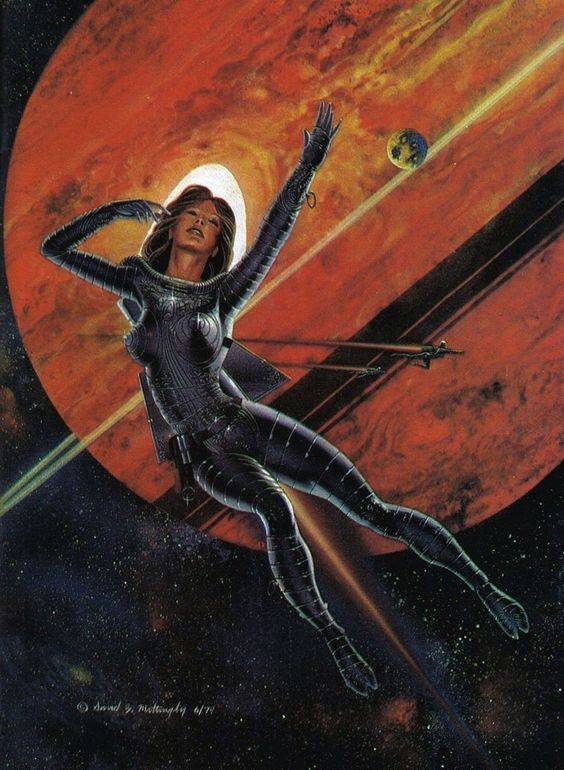 Saturn space girl pinup artwork