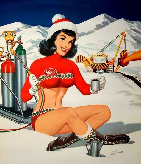 Bill Randall Christmas time pin-up