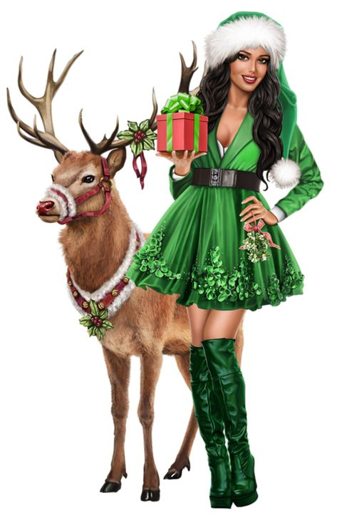 Christmas pin-up woman in green dress