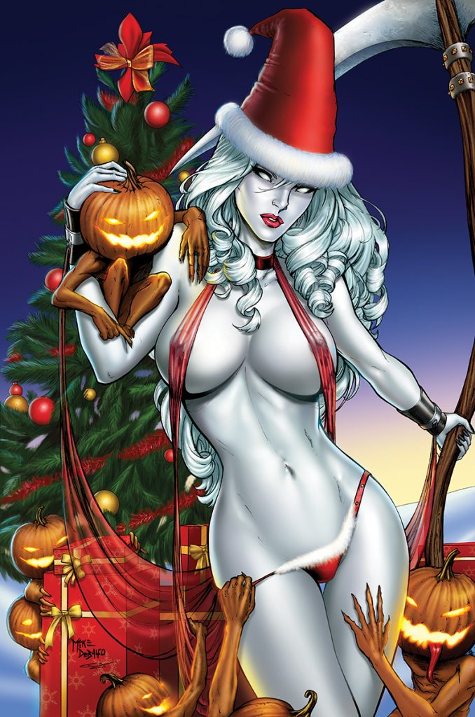 Lady Death Christmas pin-up