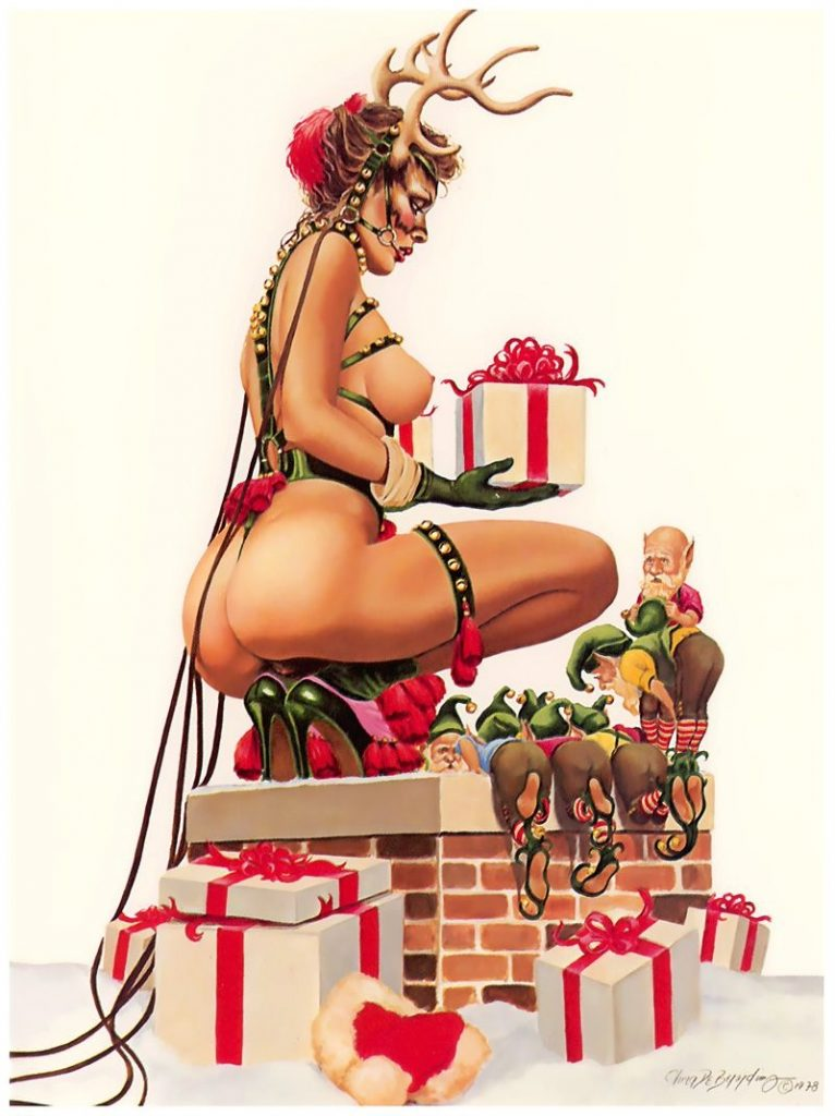 Naught Christmas pin-up art