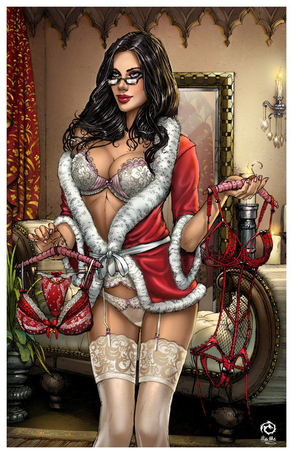 Naughty Christmas pin-up girl