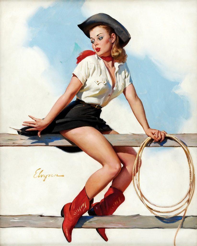 Gil Wlvgren pinup girl cowboy