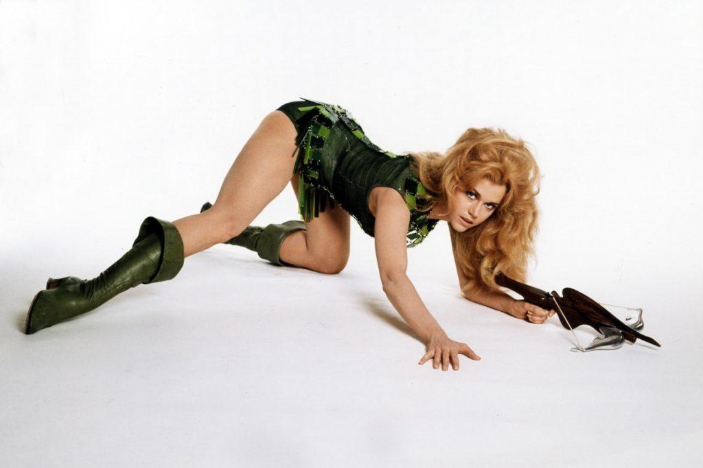 Jane Fonda posing as Barbarella pin-up