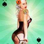 playing card pinup art aces