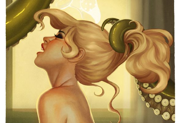 Tentacle woman art pinup weird strange sexy